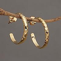 Gold plated sterling silver half hoop earrings,