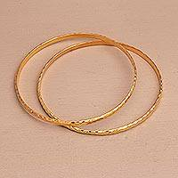 Gold plated sterling silver bangle bracelets, 'Slim Radiant Shine' (pair) - 2 Gold Plated 925 Slim Half Hoop Bangle Bracelets from Bali