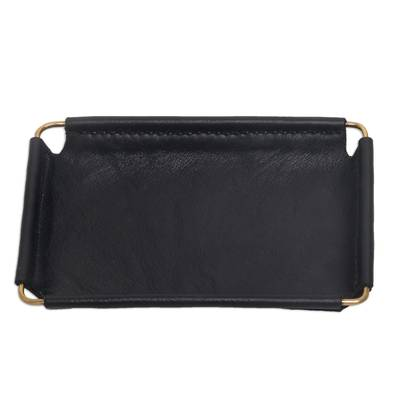 Javanese Handcrafted 6.5 Inch Black Leather Catchall