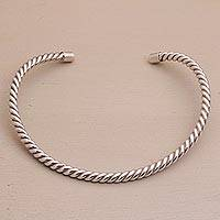 Sterling silver collar necklace, 'Elegant Rope' - Sterling Silver Collar Necklace with Rope Design