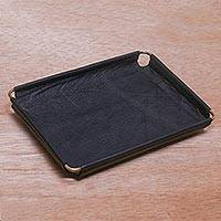 Leather catchall, 'Java Black' (7.25 inch) - Javanese Handcrafted 7.25 Inch Black Leather Catchall