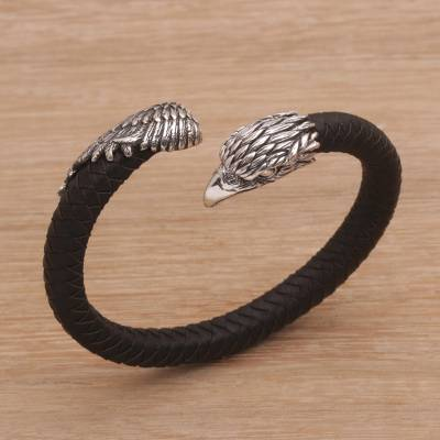 Men's sterling silver and leather cuff bracelet, 'Braided Eagle' - Men's Sterling Silver and Leather Eagle Bracelet from Bali
