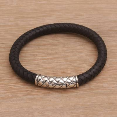Mens sterling silver and leather wristband bracelet, Strength of a Dragon