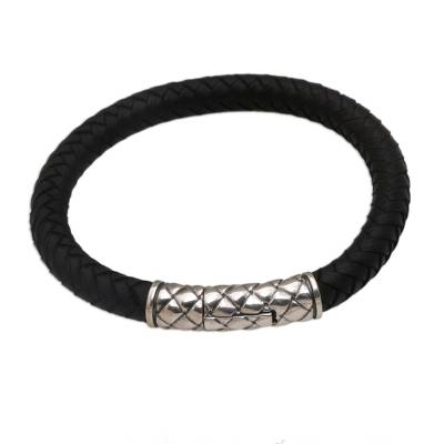 Handcrafted Braided Black Leather Sterling Silver Men