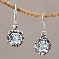 Blue topaz dangle earrings, 'Cool Radiance' - Three Carat Blue Topaz Dangle Earrings in Sterling Silver