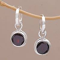 Garnet hoop earrings, 'Stoplight' - 2.5 Carat Garnet Hoop Dangle Earrings from Bali