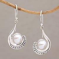Cultured pearl dangle earrings, 'Marking Time' - Sterling Silver and Cultured Pearl Dangle Earrings