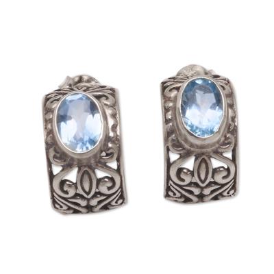 Half-Hoop Silver Earrings with One Carat of Blue Topaz Gems