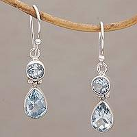 Blue topaz dangle earrings, 'Double Drops' - Blue Topaz Dangle Earrings in Sterling Silver Bezels
