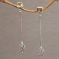 Citrine dangle earrings, 'Great Lengths' - Citrine and Sterling Silver Long Dangle Earrings