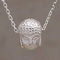 Sterling silver pendant necklace, 'Petite Buddha' - Buddha Face Sterling Silver Pendant Necklace