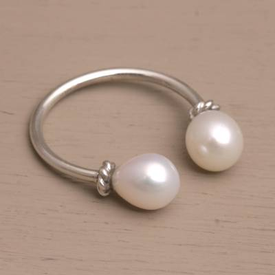 open heart peace ring - Cultured Pearl and Sterling Silver Wrap Ring