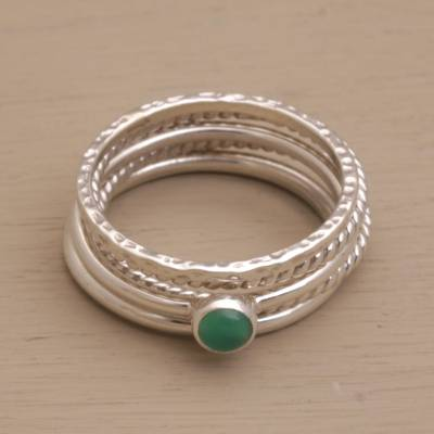 Agate and sterling silver stacking rings, 'As One' (set of 5) - Sterling Silver and Green Agate Stacking Rings (Set of 5)