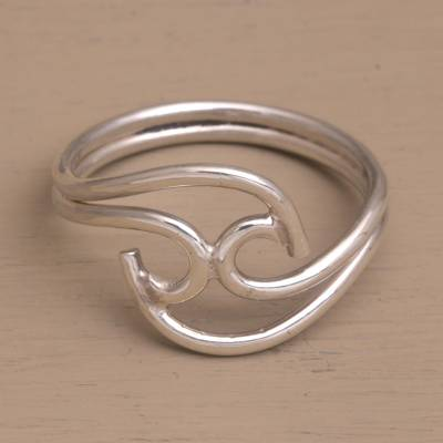 Sterling silver cocktail ring, 'Shockwave' - Contemporary Sterling Silver Cocktail Ring from Bali