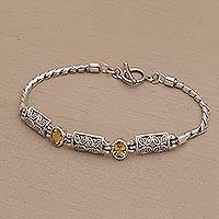 Citrine pendant bracelet, 'Kawung Blooms' - Citrine and Sterling Silver Pendant Bracelet with Chain