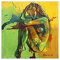 'Better on My Own' - Original Painting of a Nude Woman in Yellow and Green
