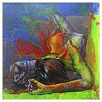 'Feeling the Curves' - Signed Expressionist Painting of a Nude Woman from Java