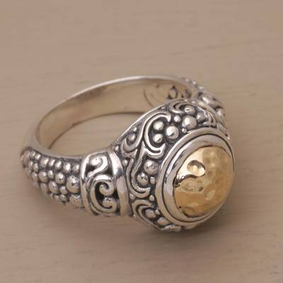 custom jewelry ring guard amarillo - 18k Gold Accent Sterling Silver Cocktail Ring