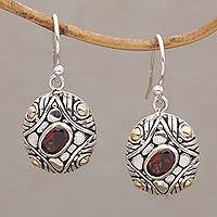 Gold accent garnet dangle earrings, 'Temple Ovals' - Gold Accent Oval Garnet Dangle Earrings from Bali