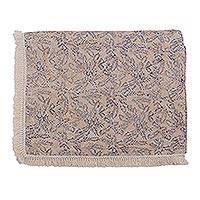 Batik cotton beach blanket, 'Lovely Paddy' - Batik Cotton Beach Blanket with Blue Leaf Motifs from Bali