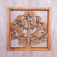 Wood relief panel, 'Bayam' - Hand Carved Suar Wood Amaranth Wall Art Relief Panel