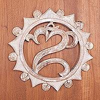 Wood wall relief panel, 'Om Aura' - Om Symbol Whitewashed Wood Wall Relief Panel