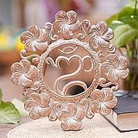 Wood wall relief panel, 'Jepun Om' - Hand Crafted Wood Wall Relief with Om Symbol and Flowers