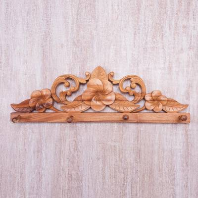 Wood coat rack, 'Plumeria Garden' - Wood Coat Rack With Carved Plumeria Flowers