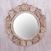 Wood wall mirror, 'Buleleng Bouquet' - Grape Motif Round Wall Mirror with Distressed Finish