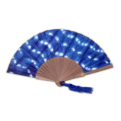 Tie Dyed Blue and White Cotton and Wood Hand Fan