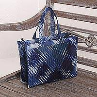 Quilted cotton tote bag, 'Blue Song' - Blue and While Tie Dyed Quilted Tote Shoulder Bag