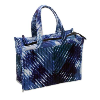 Blue and While Tie Dyed Quilted Tote Shoulder Bag