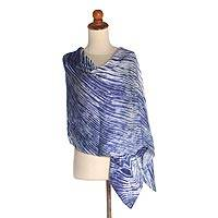 Tie-dyed silk shawl, 'Song of the Sea' - Tie Dyed Silk Shawl in Sapphire and Eggshell White from Bali