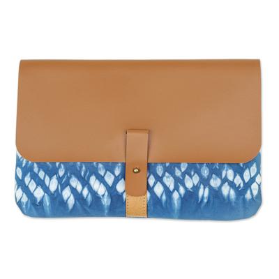 Blue Shibori Tie-Dyed Cotton Clutch Handbag
