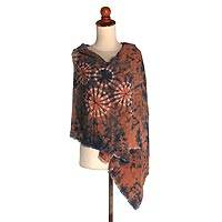 Tie-dyed rayon shawl, 'Earthy Joy' - Earth-Tone Shibori Tie-Dyed Rayon Shawl from Java
