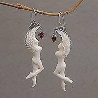 Garnet dangle earrings, 'Dancing Angels' - Garnet and Bone Angel Dangle Earrings from Bali