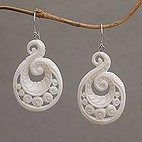 Bone dangle earrings, 'Swirling Scales' - Handcrafted Bone Spiral Motif Dangle Earrings from Bali
