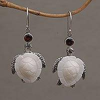 Garnet dangle earrings, 'Kurma Turtles' - Handmade Garnet and Bone Turtle Dangle Earrings from Bali