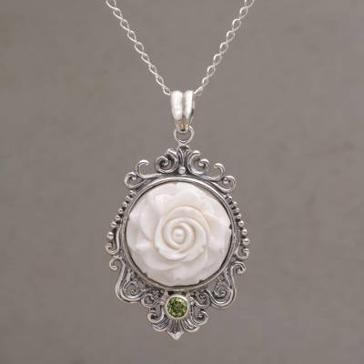 Peridot and bone pendant necklace, 'Dreamy Rose' - Rose Pendant Necklace Accented with Peridot