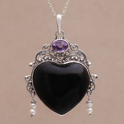 Amethyst and cultured pearl pendant necklace, Love Like Midnight