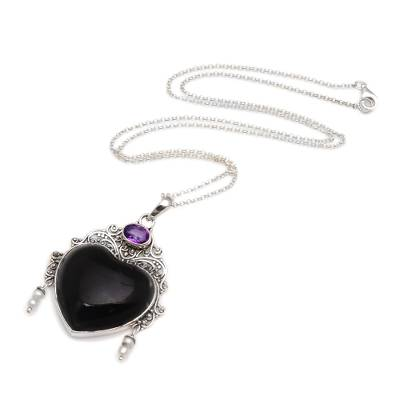 Amethyst and cultured pearl pendant necklace, 'Love Like Midnight' - Amethyst Cultured Pearl Silver Black Bone Heart Necklace
