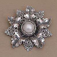 Cultured pearl brooch, 'Moonside Flower' - Artisan Crafted Floral Cultured Pearl Brooch from Bali