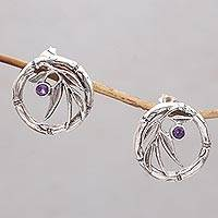 Amethyst drop earrings, 'Bamboo Life' - Bamboo-Themed Amethyst Drop Earrings from Bali