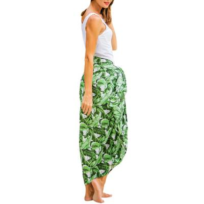 Balinese Green 100% Rayon Sarong in Hand Stamped Leaf Motif
