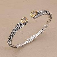 Citrine cuff bracelet, 'Looking for You' - Fair Trade Silver and Citrine Hinged Cuff Bracelet