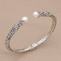 Cultured pearl cuff bracelet, 'Magical Encounter' - Cultured Pearl and Sterling Silver Cuff Bracelet