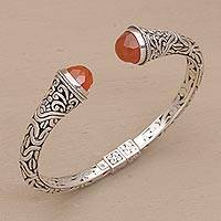 Carnelian cuff bracelet, 'Our Two Souls' - Balinese Style Hinged Sterling and Carnelian Cuff Bracelet