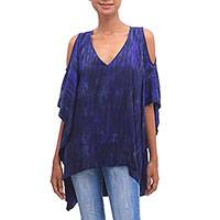 Tie-dyed rayon cold shoulder caftan, 'Aubergine Depths' - Tie Dyed Dark Purple Caftan Crafted from Rayon