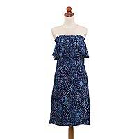 Batik rayon sundress, 'Gelam Harmony' - Navy and Lilac Batik Strapless Rayon Sundress from Bali