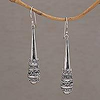 Sterling silver dangle earrings, 'Always Strong' - 925 Sterling Silver Dangle Earrings with Hook Ear Wires